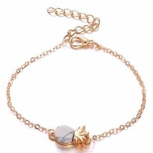 White Marble Pineapple Charm Gold Link Bracelet